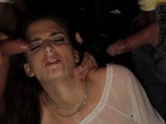 Deepthroating submissive wird facialzied