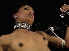 Versaute Ebenholz-Girls bei einer BDSM-Session